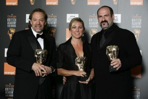 Greg Nicotero and Howard Berger receiving a BAFTA award for their make up effects work.