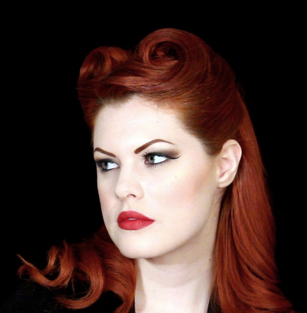 1940s Victory Roll Hairstyle by Hollywood Noir Make Up