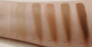 OCC Skin Conceal Swatches in Y Shades on white background