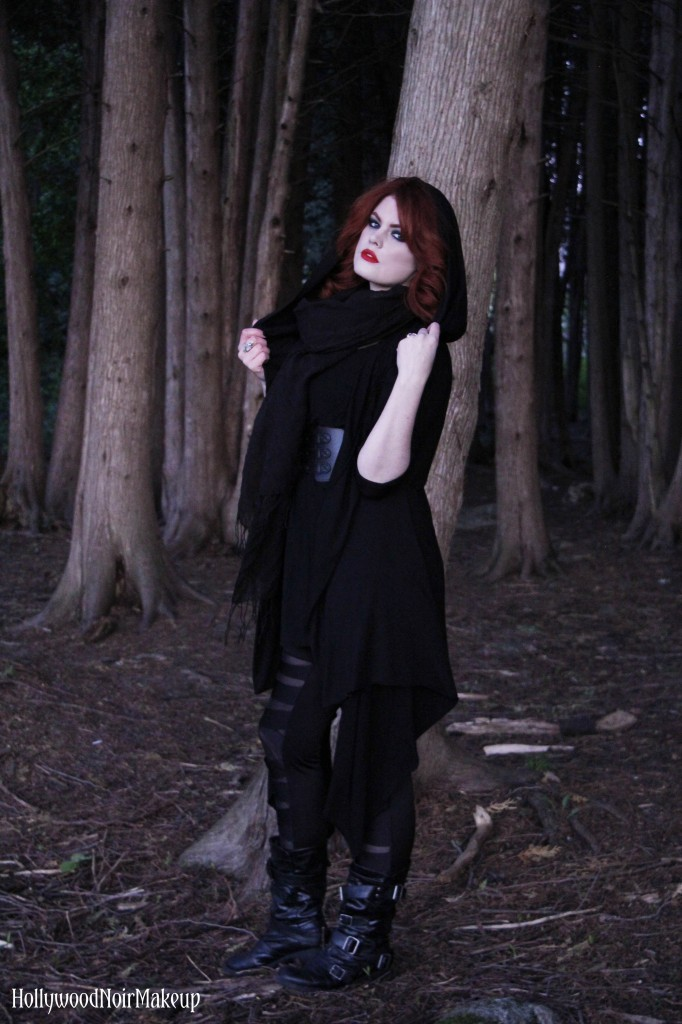Phantomlovely black hooded cape jacket modelled by hollywood noir makeup.