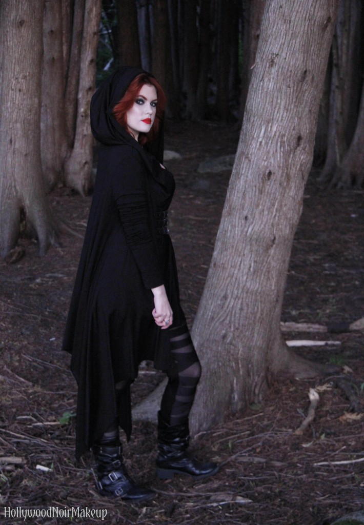 Phantomlovely black hooded cape jacket as modelled by hollywood noir makeup