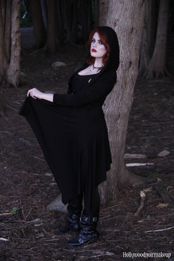 Phantomlovely Hooded Darkness Jacket in Black. Modelled by Hollywood Noir Makeup.