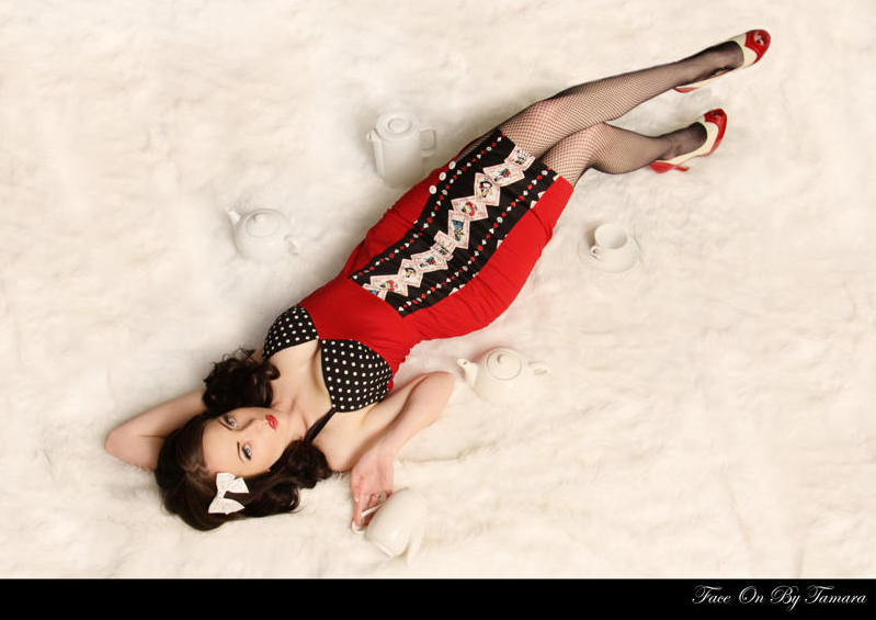 Poison Candy Red Pin Up Dress Photo Shoot