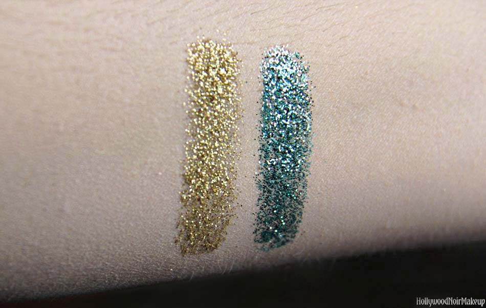 Cinema Secrets Hollywood Lights Glitter Swatches in Chorus Line and Oscar
