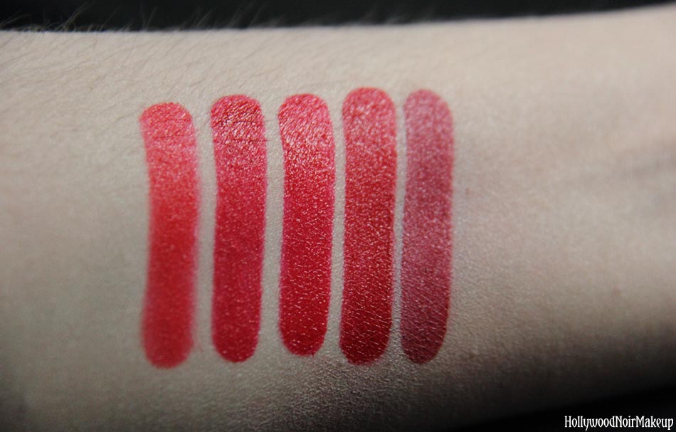 Cinema Secrets Ultimate Red Lip Palette Swatches in #1 'Can't Buy Me Love'