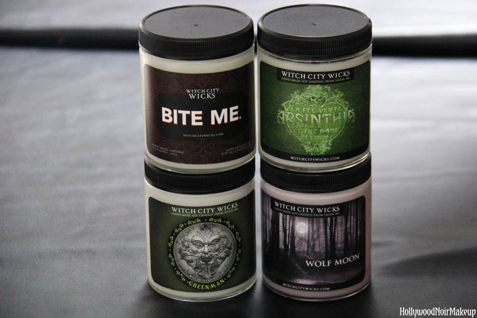 Witch City Wicks All Natural Hand-Crafted Soy Candles in Wolf Moon, Bite Me, Absinthe and Greenman