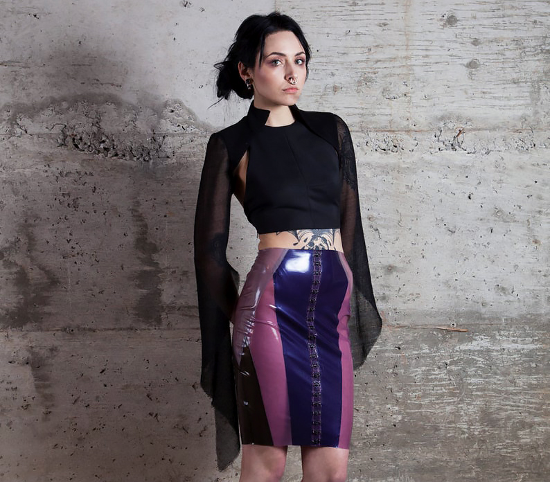 Uneven Creations Crystal Cluster Latex Pencil Skirt