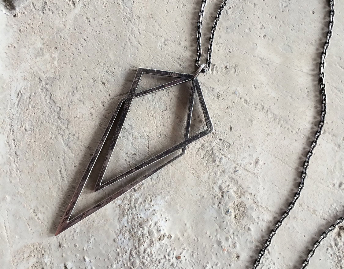 Uneven Creations Silver Geometric Pendant Necklace